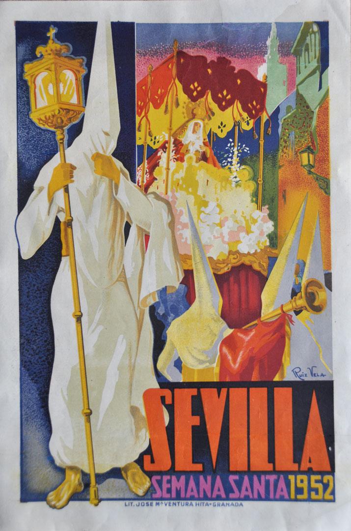CARTEL DE SEMANA SANTA DE SEVILLA DE 1952   Antigüedades Lola Ortega